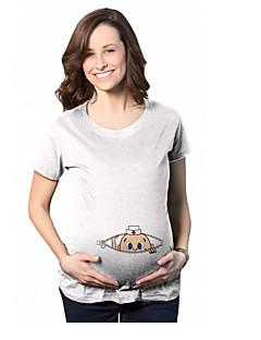 baratos Tops-Mulheres Camiseta Casual Estampado, Sólido Algodão
