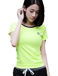 billige Løbetøj-Dame Rund hals Løbe-T-shirt Sport T-Shirt / Toppe Yoga, Fitness, Træningscenter Kortærmet Sportstøj Åndbart, Hurtigtørrende