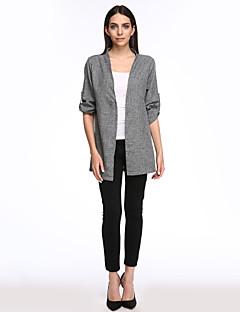 billige Plusstørrelser-V-hals Dame - Ensfarvet Bomuld Skjorte