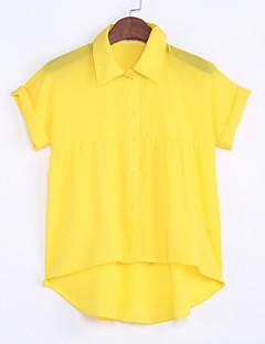billige Skjorte-Krave Dame - Ensfarvet Krøllede Folder Skjorte
