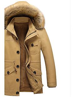 男性 プラスサイズ お出かけ カジュアル/普段着 春 冬 ソリッド ジャケット,シンプル 活発的 スタンド ブルー ベージュ ブラック コットン アクリル ポリエステル 長袖 厚手
