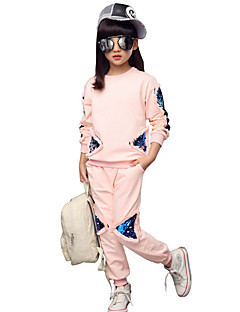 Girls' Daily Plaid Embroidered Clothing Set,Cotton All Seasons Long Sleeve Floral Black Blue Pink