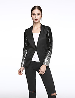 Women's Sequin Casual/Daily Spring Blazer,Solid Cowl Long Sleeve Black Polyester Medium