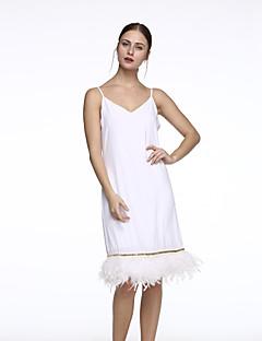 baratos Ponta de Estoque-Mulheres Moda de Rua Calças - Sólido Franjas Branco / Decote em V Profundo / Feriado