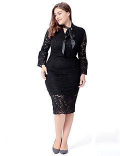 ieftine SWEET CURVE®-Pentru femei Mărime Plus Size Sleeve Flare Dantelă Rochie - Dantelă, Mată În V