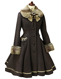 Coat Gothic Lolita Classic/Traditional Lolita Vintage Inspired Elegant Victorian Rococo Princess Cosplay Lolita Dress Solid Long Sleeves