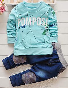 billige Tøjsæt til drenge-Drenge Jeans Formel Trykt mønster Forår Efterår Langt Ærme Pænt tøj Grå Navyblå Rød Lyseblå