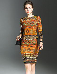 Women's Going out Street chic Spring T-shirt Skirt Suits,Print Round Neck Long Sleeve Split Micro-elastic