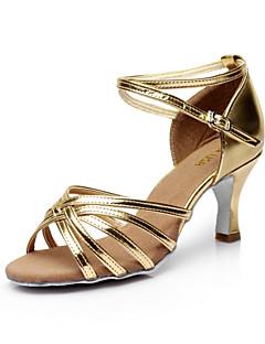 hesapli -Kadın's Latin Dans Ayakkabıları / Salsa Ayakkabıları Saten Sandaletler Toka Kişiye Özel Kişiselleştirilmiş Dans Ayakkabıları Gümüş /