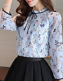 Χαμηλού Κόστους Chic Shirts-Γυναικεία Μπλούζα Δουλειά Φλοράλ Όρθιος Γιακάς Λουλούδι Σουρωτά Πολυεστέρας