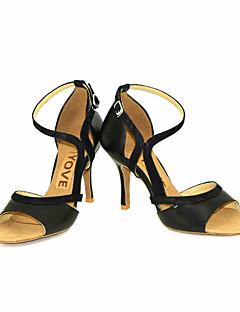 Feminino Latina Salsa Couro Sandália Salto Profissional Apresentação Fivela Fita Salto Personalizado Preto Amarelo Vermelho Personalizável