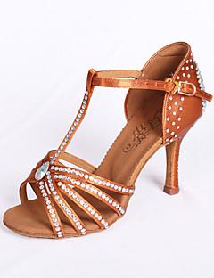 hesapli -Kadın Latince Salsa Balo Saten Sandaletler Taşlı Kıvrımlı Topuk Kahverengi 7.5cm Kişiselletirilmemiş