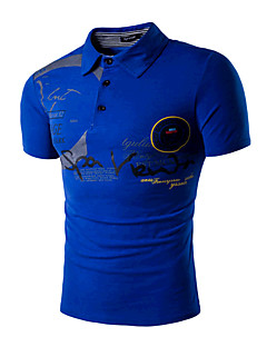 Men's Sports Going out Simple Active Summer Polo,Print Shirt Collar Short Sleeves Cotton