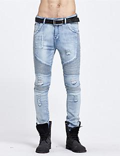 billige Herrebukser og -shorts-Herre Fritid Mikroelastisk Rett Jeans Bukser, Mellomhøyt liv Bomull Ensfarget Vår Høst Alle årstider
