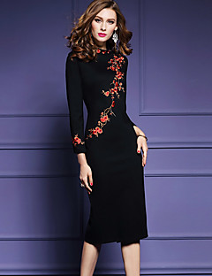 Women's Going out Plus Size Chinoiserie Bodycon Dress,Embroidered Round Neck Midi Long Sleeves Polyester Spring Fall Mid Rise