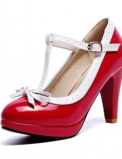 Mujer Zapatos Semicuero Primavera / Otoño Confort Tacones Tacón Stiletto Dedo redondo Hebilla Blanco / Negro / Almendra / Fiesta y Noche PZtJT