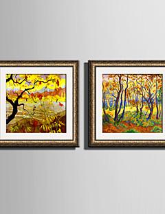 tanie Motywy botaniczne/kwiatowe w oprawie-Oprawione płótno Zestaw w oprawie Kwiatowy/Roślinny Wall Art, PVC (polichlorek winylu) Materiał z ramą Dekoracja domowa rama Art Living