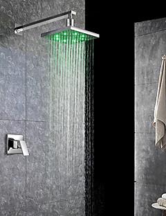 現代風 近代の バスタブとシャワー LED 滝状吐水タイプ レインシャワー with  セラミックバルブ シングルハンドルつの穴 for  クロム , シャワー水栓