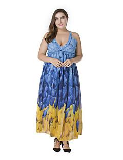 billige Plusstørrelser til kvinder på udsalg-Dame Ferie Boheme Chiffon Kjole - Trykt mønster, Åben ryg Maxi Med stropper