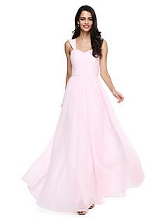 billige Romantisk rosa-A-linje stropper Gulvlang Chiffon Brudepikekjole med Belte / bånd / Kryssdrapering / Bølgemønster av LAN TING BRIDE®