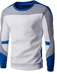 Herren Kapuzenshirt Extraklein Lässig/Alltäglich Einfach Einfarbig Patchwork Rundhalsausschnitt Fleece-Futter Mikro-elastisch Baumwolle