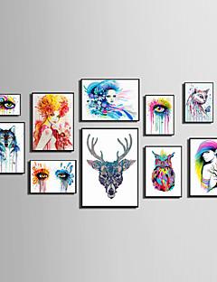 ieftine Artă Animale Înrămată-Pânză Înrămată Set Înrămat Abstract Animale Oameni Floral/Botanic Wall Art, PVC Material cu Frame Pagina de decorare cadru Art Sufragerie