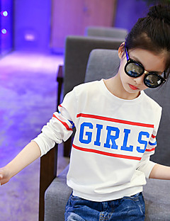 cheap Girls' Clothing-Girls' Daily Going out Holiday Print Tee,Cotton Spring Fall Long Sleeve Cartoon White Blushing Pink