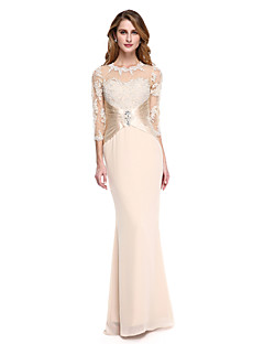 cheap Mother of the Bride Dresses-Mermaid / Trumpet Jewel Neck Floor Length Chiffon Stretch Satin Mother of the Bride Dress with Beading Appliques Pleats by LAN TING BRIDE®
