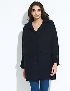 婦人向け カジュアル/普段着 冬 ソリッド コート,シンプル シャツカラー ブルー / ブラック ポリエステル 長袖 ミディアム