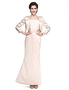 cheap Mother of the Bride Dresses-Mermaid / Trumpet Square Neck Ankle Length Satin Mother of the Bride Dress with Lace Ruched by LAN TING BRIDE®
