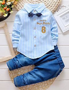 Boy's Cotton Spring/Autumn Fashion Stripes Embroidered Casual Long Sleeve Shirt And Jeans Pants Two-piece Set