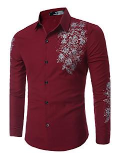 billige Herrers Moteklær-Tynn Klassisk krage Skjorte Trykt mønster Helg Herre