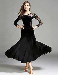 tanie Stroje balowe-Taniec balowy Outfits Damskie Wydajność Szyfon Koronka Aksamit Koronka Długi rękaw Naturalny Spódnice Trykot opinający ciało / Śpiochy