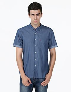 男性 カジュアル/普段着 夏 シャツ,シンプル シャツカラー ソリッド グレイ コットン 半袖 ミディアム
