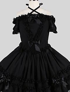 billiga Lolitaklänningar-Söt Lolita Elegant Dam Klänningar Cosplay Svart Fjäril Kortärmad Knälång