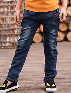Para Meninos Jeans Casual Cor Única Inverno Primavera Outono Algodão