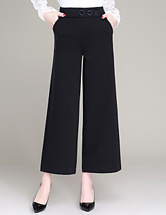 מכנסיים צ'ינו חרוזים מיקרו-גמיש רזה רגל רחבה גיזרה גבוהה אחיד פָּשׁוּט חמוד