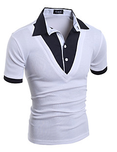 Men's Daily Sports Club Casual Punk & Gothic Street chic All Seasons T-shirt,Solid Shirt Collar Short Sleeves Cotton Spandex