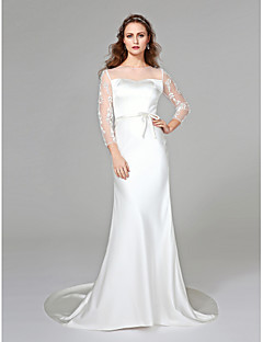Mermaid / Trumpet Jewel Neck Court Train Satin Wedding Dress with Appliques Sash / Ribbon Bow by LAN TING BRIDE®