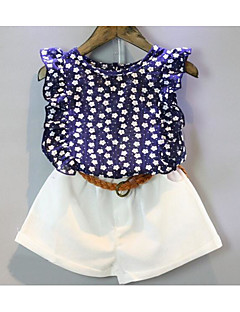 Girls' Casual/Daily Print Sets,Cotton Summer Sleeveless Clothing Set Ruffle Blue