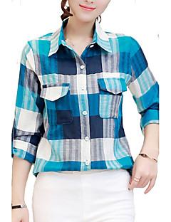 Rayon Polyester Tynn Langermet,Skjortekrage Skjorte Ruter Alle sesonger Enkel Fritid/hverdag Dame