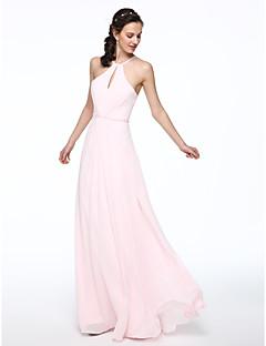 billige Romantisk rosa-A-linje Grime Gulvlang Chiffon Brudepikekjole med Perlearbeid Plissert av LAN TING BRIDE®