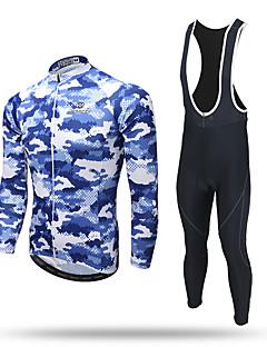 abordables -XINTOWN Maillot et Cuissard Long à Bretelles de Cyclisme Homme Manches Longues Vélo Pantalon / Surpantalon Survêtement Haut Zippé Maillot
