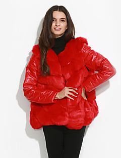 billige Overtøj til damer-Patchwork,Dame Ensfarvet Vintage I-byen-tøj Plusstørrelser-Frakke