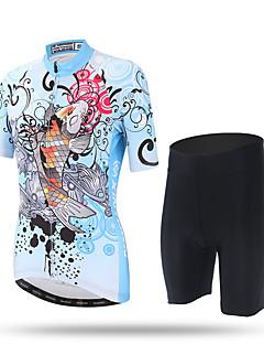 billige Sett med sykkeltrøyer og shorts/bukser-XINTOWN Dame Kortermet Sykkeljersey med shorts - Lyseblå Sykkel Shorts Jersey Bukser, Fort Tørring, Ultraviolet Motstandsdyktig,