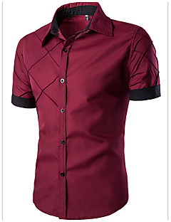 Men's Daily Casual Summer Shirt,Color Block Classic Collar Short Sleeves Cotton