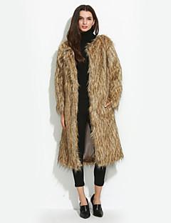 Χαμηλού Κόστους -Γυναικεία Γούνινο παλτό Καθημερινά / Πάρτι/Κοκτέιλ / Μεγάλα Μεγέθη Απλό Μονόχρωμο,Μακρυμάνικο Στρογγυλή Λαιμόκοψη ΧοντρόΦθινόπωρο /