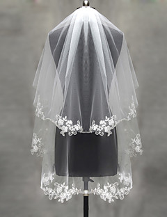 cheap Wedding Veils-Two-tier Lace Applique Edge Pearl Trim Edge Wedding Veil Blusher Veils Elbow Veils Fingertip Veils 53 Appliques Tulle
