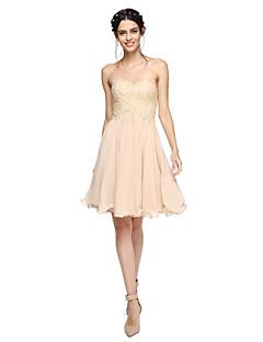billige Romantisk rosa-A-linje Kjære Knelang Chiffon Blonder Brudepikekjole med Perlearbeid Plissert av LAN TING BRIDE®
