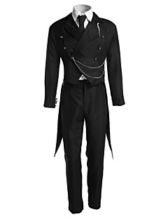 cheap Anime Costumes-Inspired by Black Butler Sebastian Michaelis Anime Cosplay Costumes Cosplay Suits Solid Long Sleeves Vest Pants Tie Tuxedo For Men's